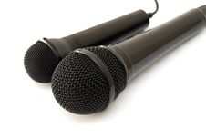 Free Two Black Microphones Royalty Free Stock Images - 15301389
