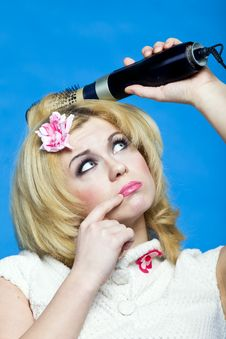 Free Girl With Hair Dryer Stock Photo - 15301900