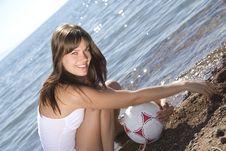 Free Girl With A Ball On Beach Stock Photos - 15302653