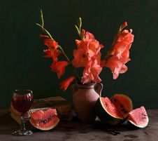 Free Still Life With Gladioluses And Water-melon Stock Photo - 15303010