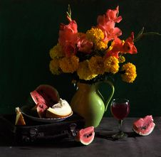 Still Life With Marigolds And Gladioluses Stock Image