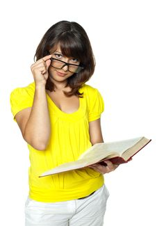 Free The Student Holds The Book And Corrects Glasses Stock Photos - 15303063
