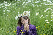 Free Happy Girl Smelling And Feeling Flowers Royalty Free Stock Image - 15303296