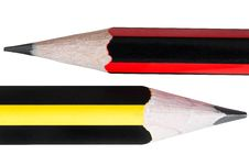 Close Up Of Two Pencils Isolated On White Stock Images