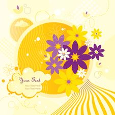 Free Yellow Background Sunny Flowers Stock Images - 15304334