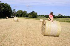Caucasian Teen Thinking On Hay Bales Royalty Free Stock Image