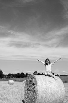 Free Happy Teenager Loving Nature From Hay Bales Royalty Free Stock Photo - 15305725