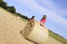 Free White People Having Fun On Hay Bales Royalty Free Stock Photography - 15305837