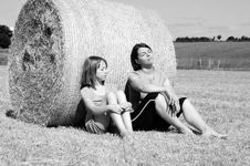 Free Happy People Relaxing In Nature On Hay Bales Stock Photos - 15306133
