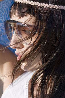 Free Profile Of Cute Woman With Sunglasses Stock Photos - 15308943