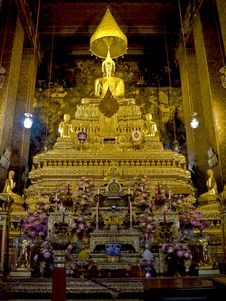Free Golden Buddha, In The Church. Stock Image - 15310641