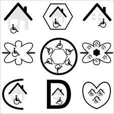 Disabled Housing Logo Set Royalty Free Stock Photos