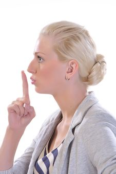 Free Woman With Finger To Mouth Gesturing For Quiet Royalty Free Stock Photography - 15311727