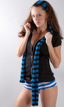 Free Cute Image Of Woman In Striped Scarf And Underwear Stock Image - 15312721