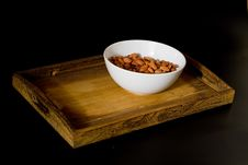 Free Bowl With Almonds On Wooden Tray Royalty Free Stock Photo - 15313005