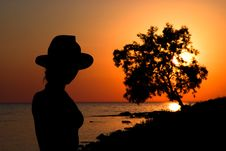 Free Slender Girl Silhouette Against The Sea Sunset Stock Image - 15313051