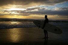 Free Surfer Watching The Sunset Royalty Free Stock Image - 15313126