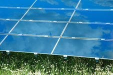 Free Solar Power Plant With Chamomile Royalty Free Stock Photography - 15313427