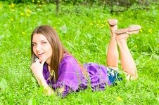 Pretty Girl On Meadow Stock Images