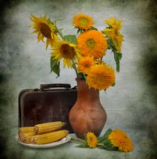 Free Still Life With Sunflowers And Old Suitcase Stock Photography - 15316932