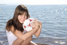 Free Smiling Girl With A Ball Royalty Free Stock Photography - 15318027