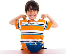 Free Young Little Boy Showing His Strength Stock Images - 15318474