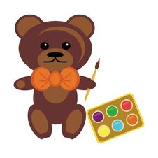 Free Teddy Bear With Paints Stock Photo - 15319810