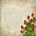 Free Vintage Card For The Holiday With Red Rose Stock Image - 15322381