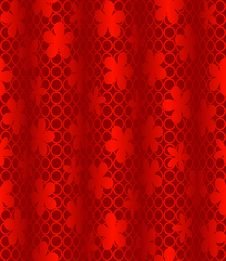 Free Red Wavy Background With Flowers Royalty Free Stock Images - 15321639