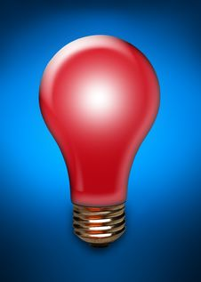 Free Red Light Bulb On Blue Royalty Free Stock Photos - 15323878