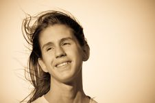 Free Portrait Of A Teenager. Wind. Royalty Free Stock Image - 15324226