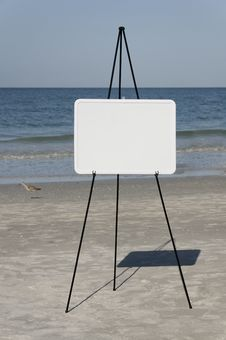 Blank Sign At Seaside Stock Image