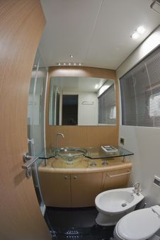 Luxury Yacht Continental 80, Guests Bathroom Royalty Free Stock Photography