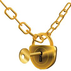 Free Locked Gold Chain Stock Image - 15327031