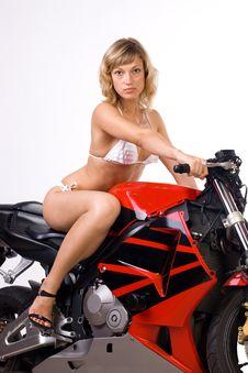 Free Sexy Girl On Motorbike Royalty Free Stock Image - 15327986