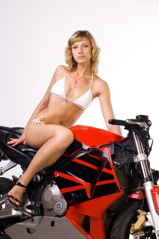 Sexy Girl On Motorbike Royalty Free Stock Images