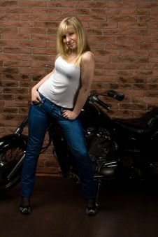 Sexy Girl On Motorbike Stock Photo
