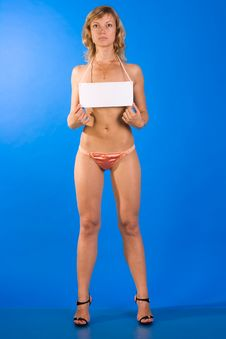 Beautiful Topless Girl Holing White Blank Sign Stock Image