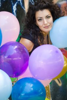Free Woman With Colorful Balloons Stock Photos - 15328903