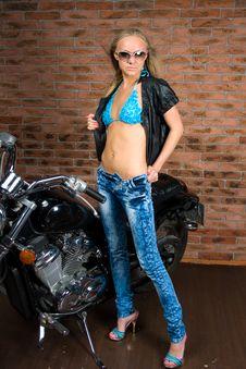 Free Sexy Girl On Motorbike Stock Photography - 15328912