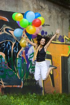 Free Happy Woman With Balloons Stock Photography - 15328922