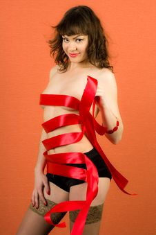 Free Sexy Girl With Red Ribbons Royalty Free Stock Photography - 15329217