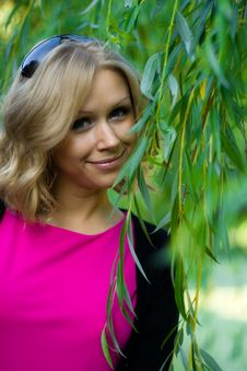Free Girl And Green Leaves Stock Photos - 15329393