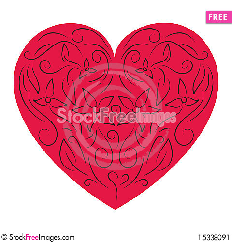 Free Floral Red Heart Stock Image - 15338091