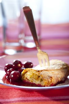 Free Apple Strudel With Hot Cherries Stock Image - 15330881