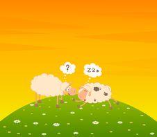 Free Cartoon Sheep Sleeps On A Grass Stock Photos - 15330913