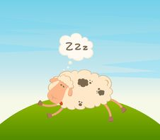 Free Cartoon Sheep Sleeps On A Grass Stock Images - 15330914