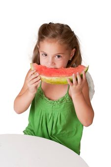 Free Pretty 5 Year Old Girl Eating Watermelon Stock Photos - 15331863
