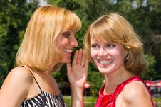 Free Two Gossiping Girls Outside. Stock Photo - 15333110