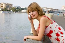 Free Woman Is Talking Mobile Phone Outdoors. Royalty Free Stock Photos - 15333138